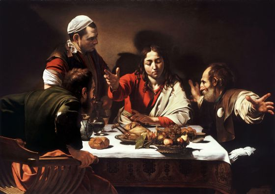 Caravaggio, Michelangelo Merisi da: Supper at Emmaus. Fine Art Print/Poster. Sizes: A4/A3/A2/A1 (0024)